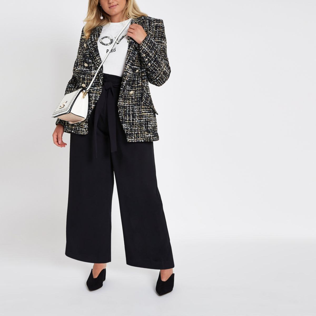 Plus black paperbag wide leg trousers