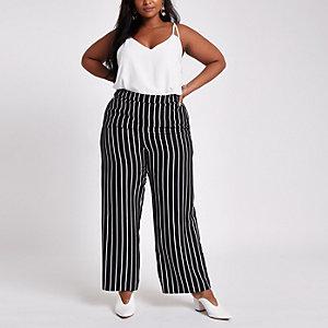 Plus – Schwarze Hose mit weitem Beinschnitt