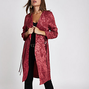 Pink jacquard print duster jacket