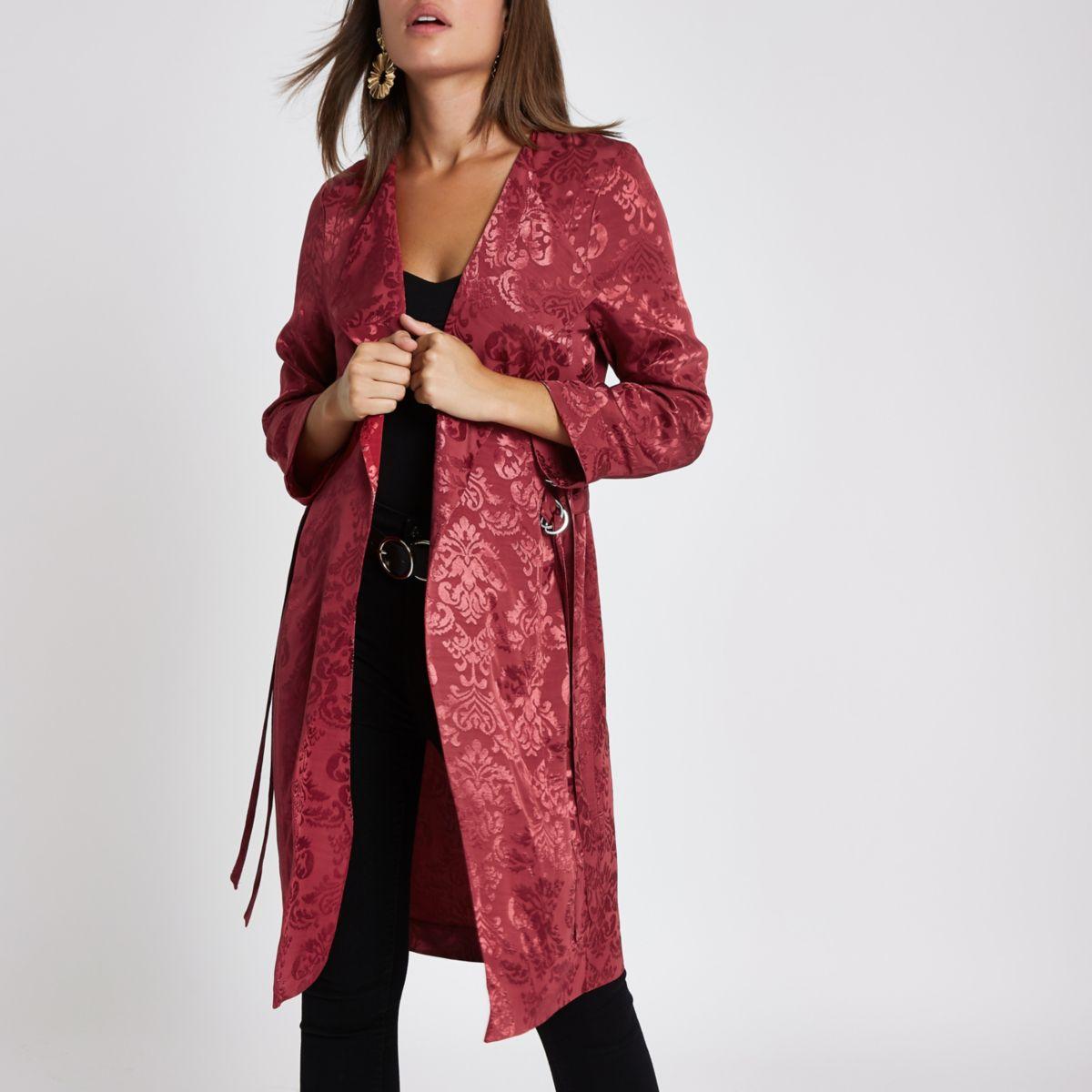 Pink jacquard print duster jacket