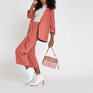 Dark pink ruched sleeve blazer