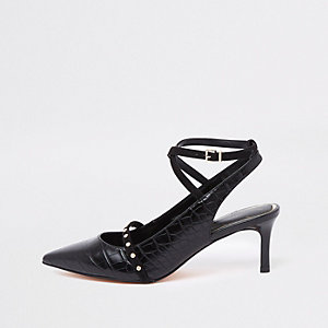 Black croc mid heel ankle strap pumps