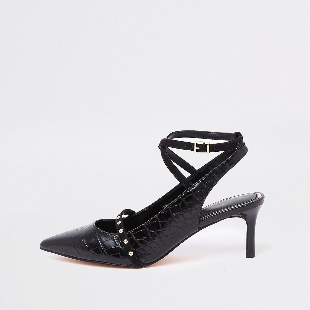 Black croc mid heel ankle strap court shoes