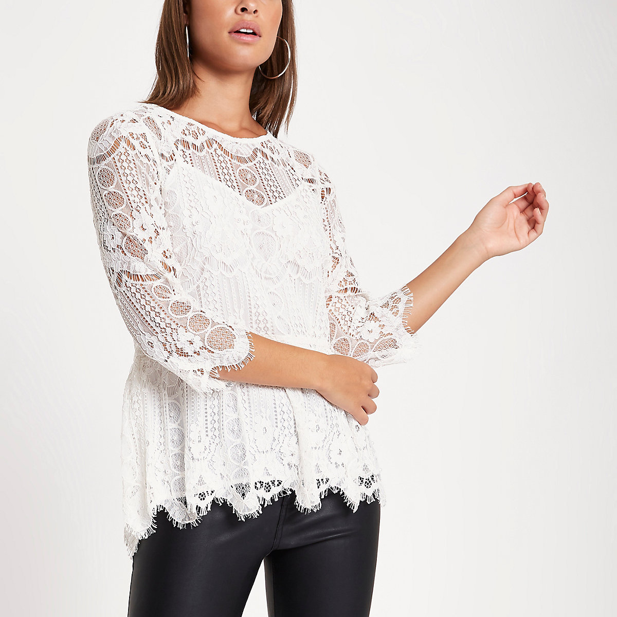 Cream lace pearl embellished peplum top