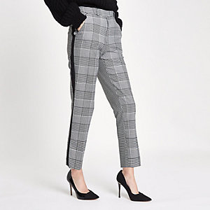 Black check straight leg side stripe pants
