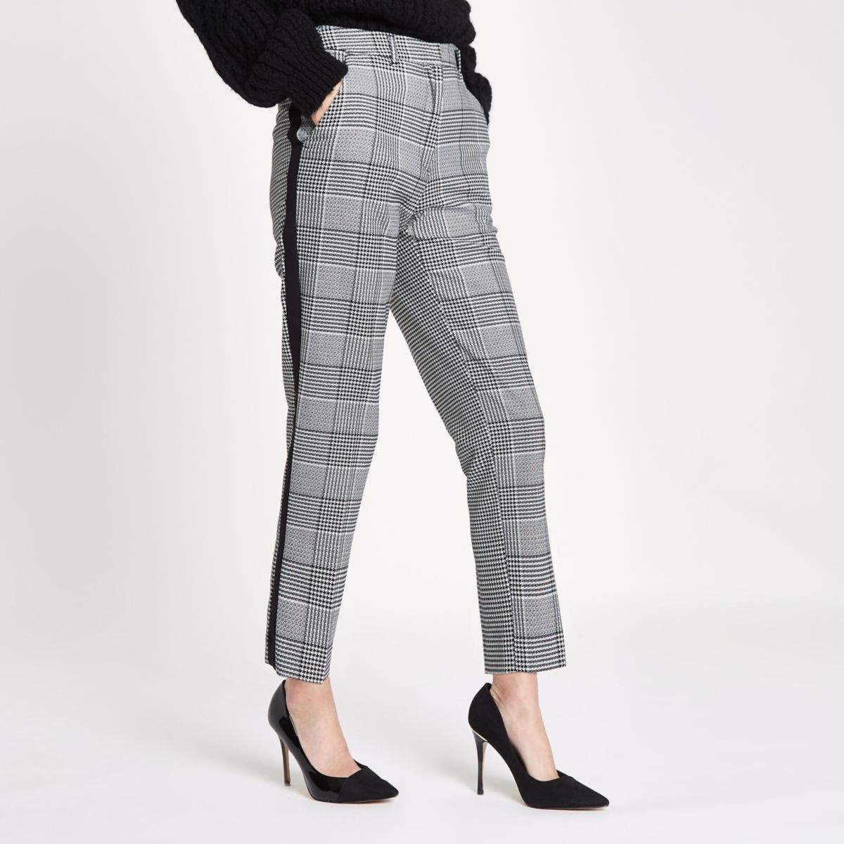 Black check straight leg side stripe trousers
