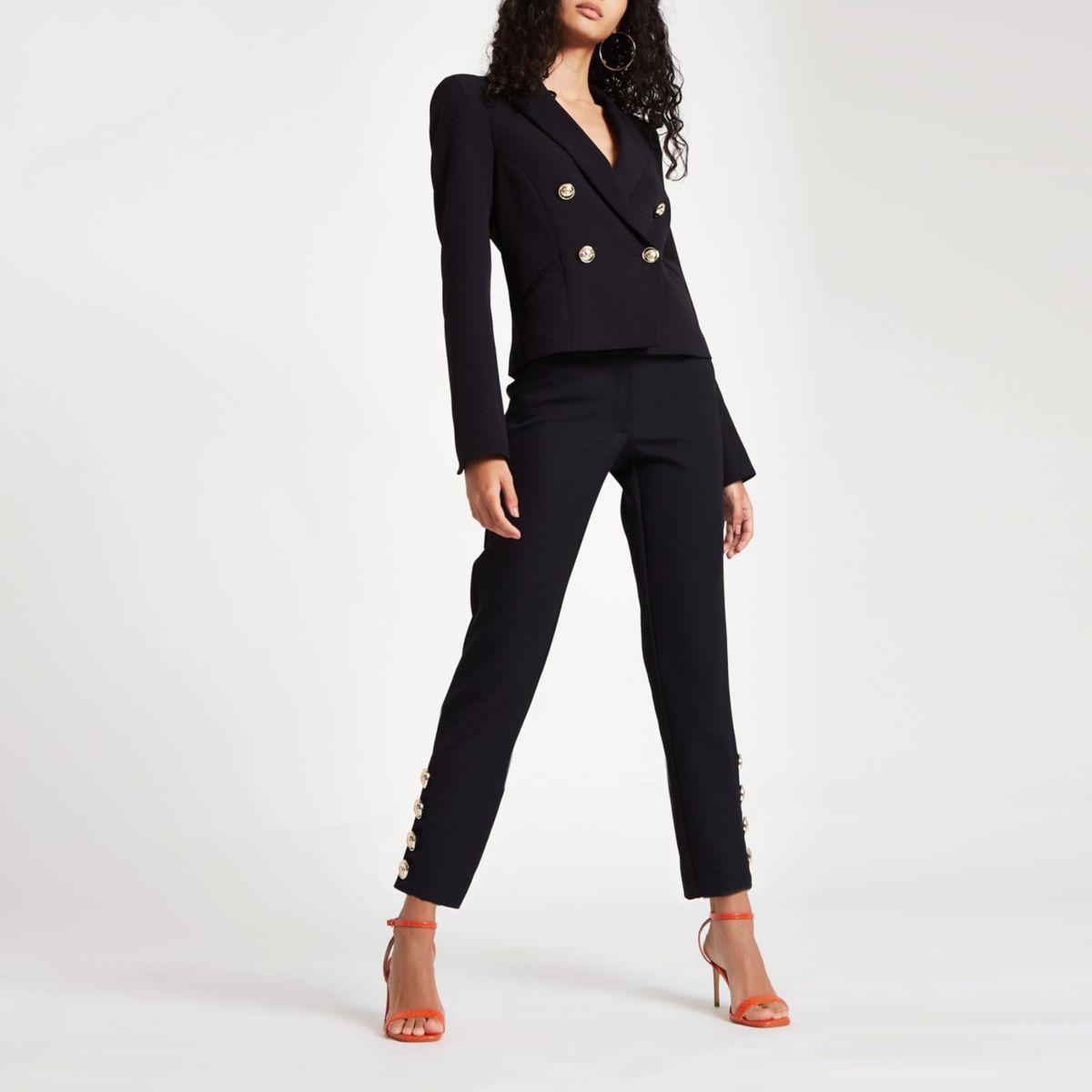 Black straight leg button trim pants
