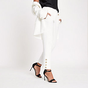 White straight leg button trim pants