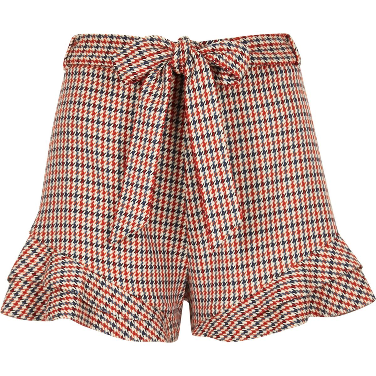 waist Orange frill check tie shorts hem wnCqgCU8