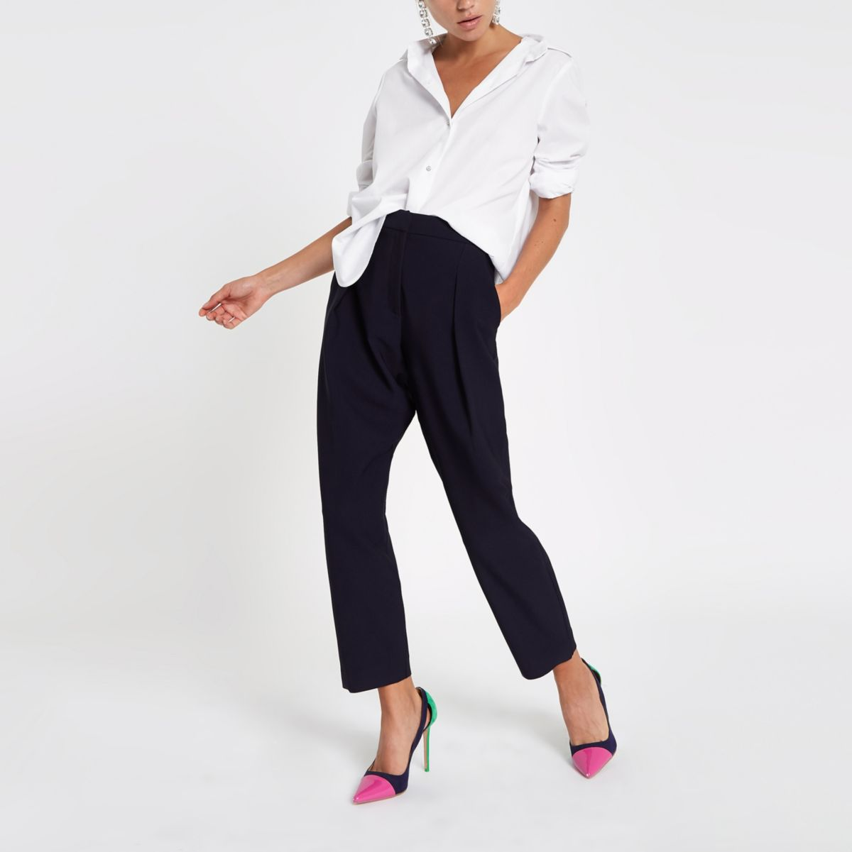 Navy pleated peg trousers
