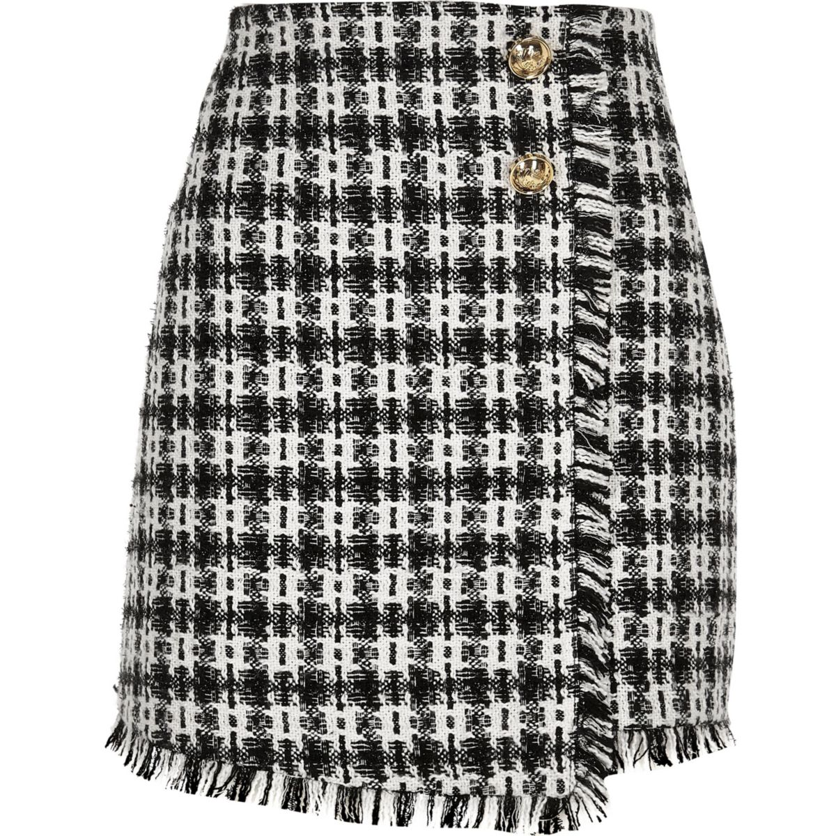 boucle skirt button mini check Black 5wpqAA