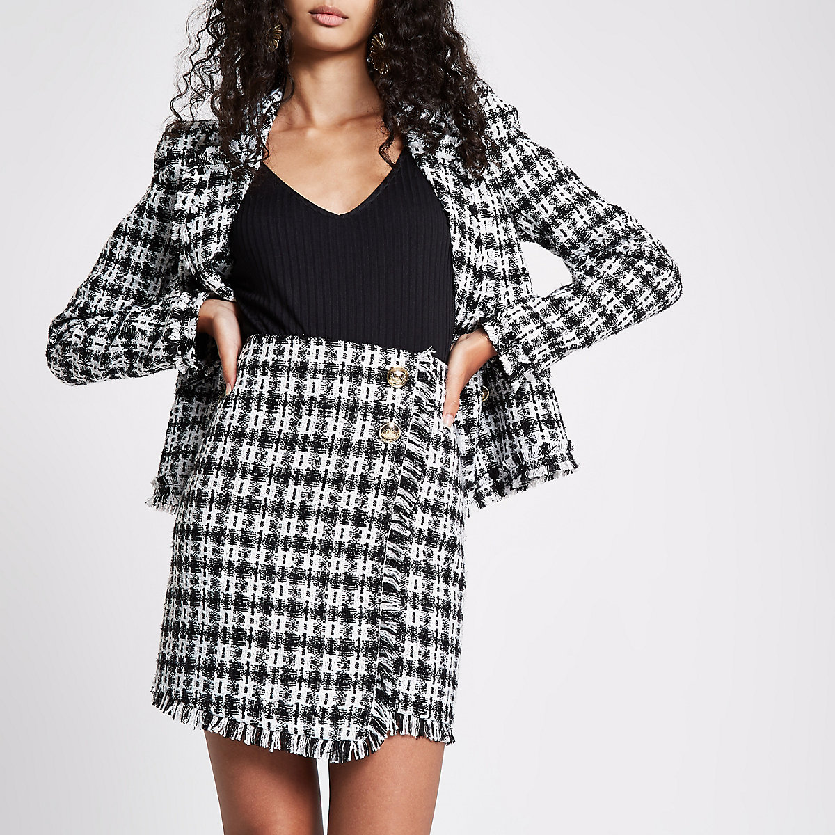 Black check boucle button mini skirt