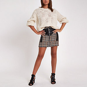 Brown check faux leather block mini skirt