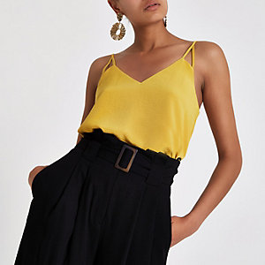 Yellow split strap cami top