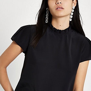 Black frill neck shell top
