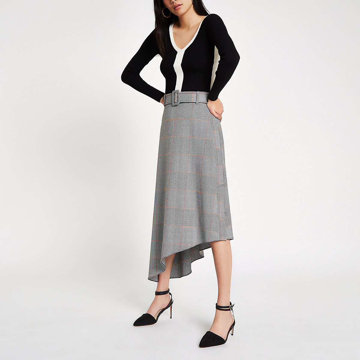 Grey check asymmetric hem midi skirt