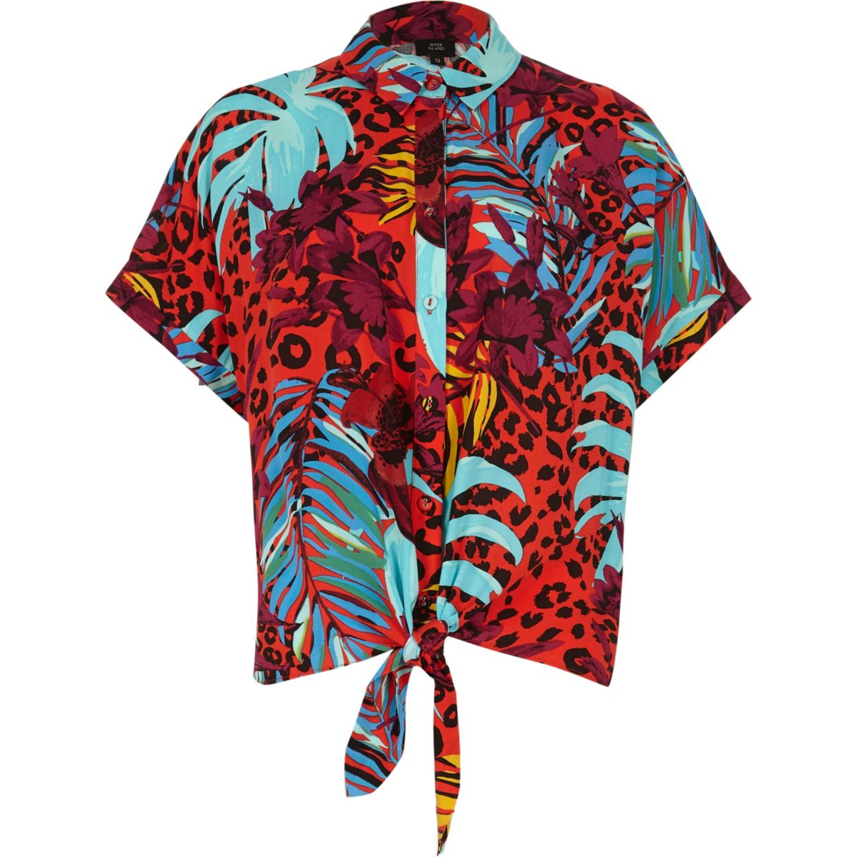 printed tropical tie Red shirt front Hvpqx0w8