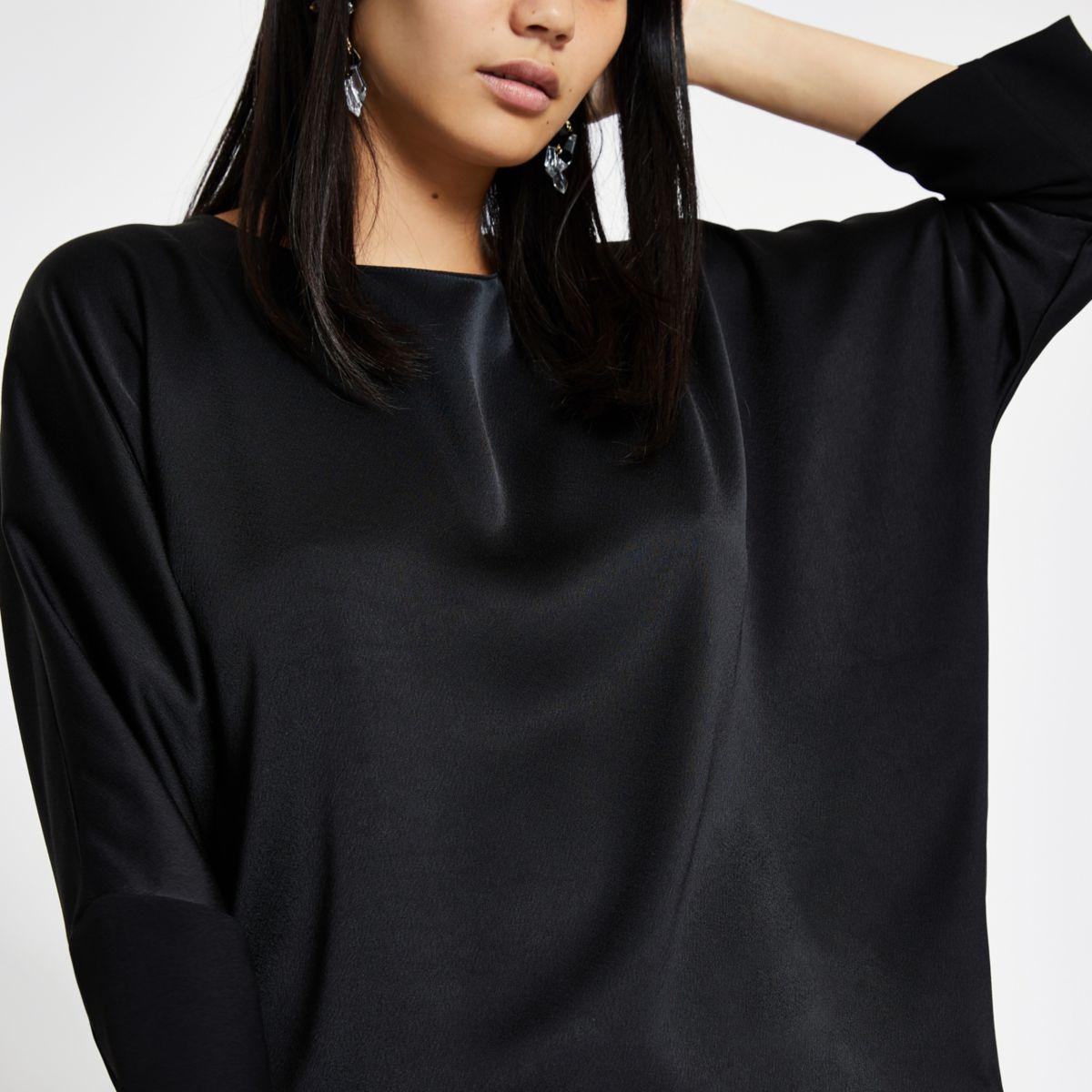 Black satin loose fit top