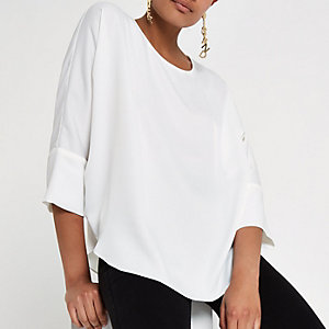 White loose batwing sleeve top