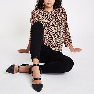 Top ample imprimé léopard marron