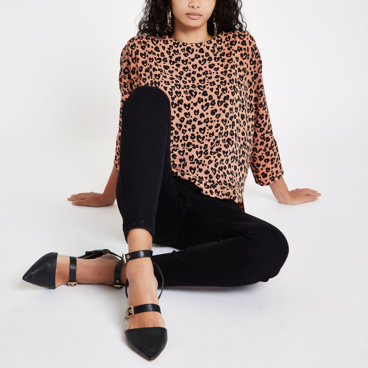 Brown leopard print loose fit top