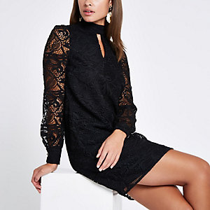 Black lace trim long sleeve shift dress