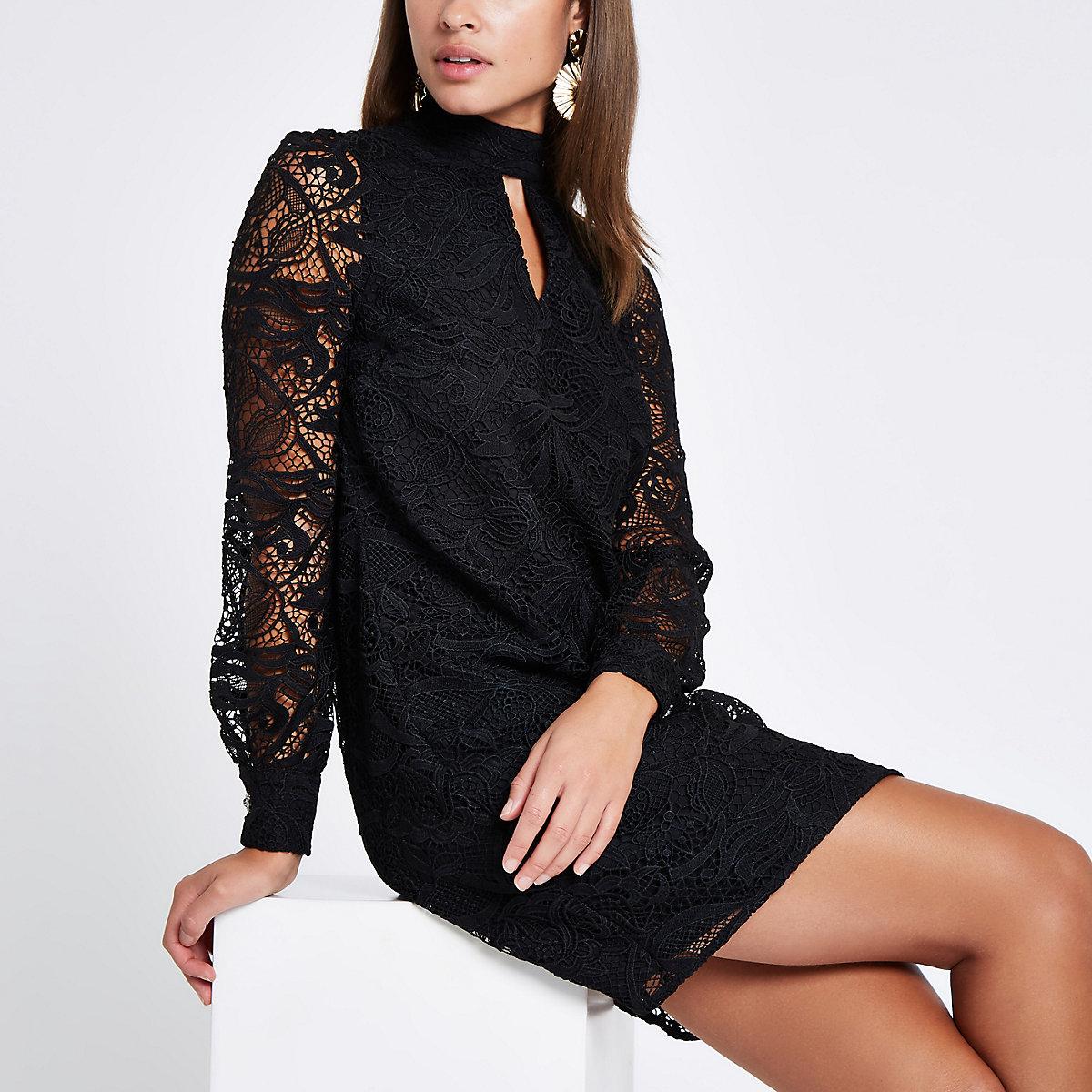 Black lace trim long sleeve shift dress