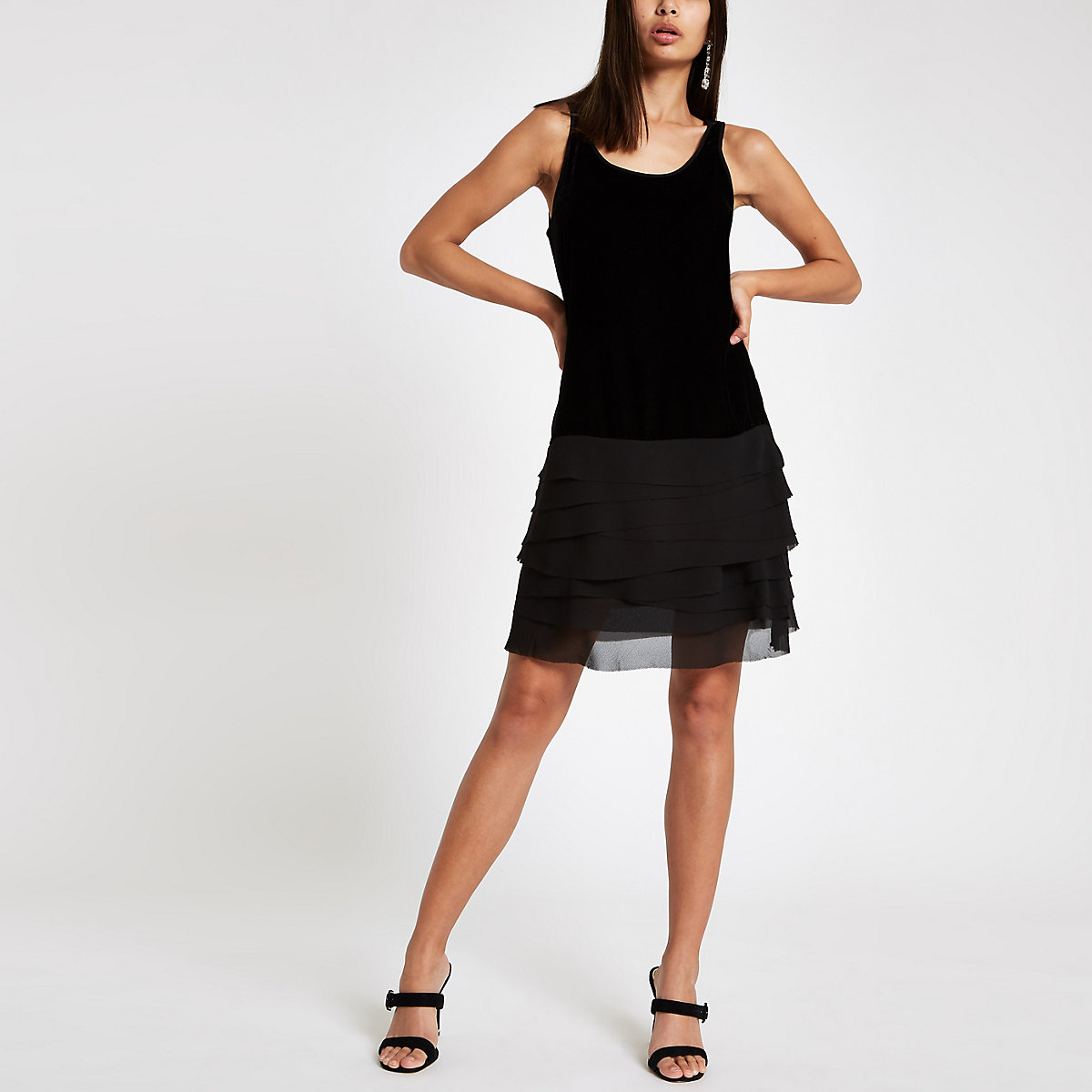 Black velvet frill hem dress