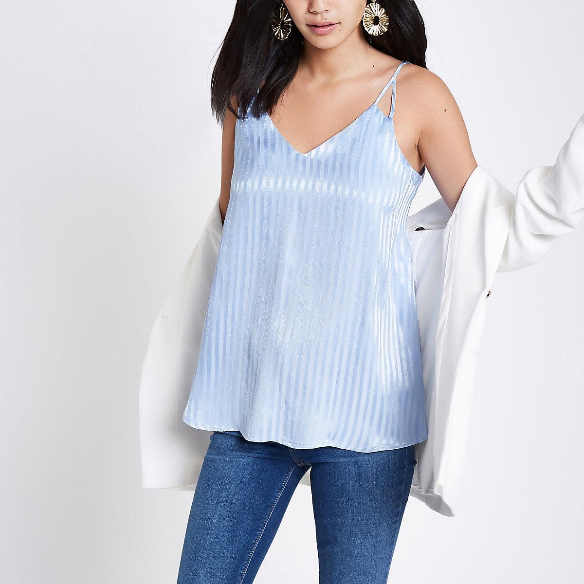 Blue stripe split strap cami top