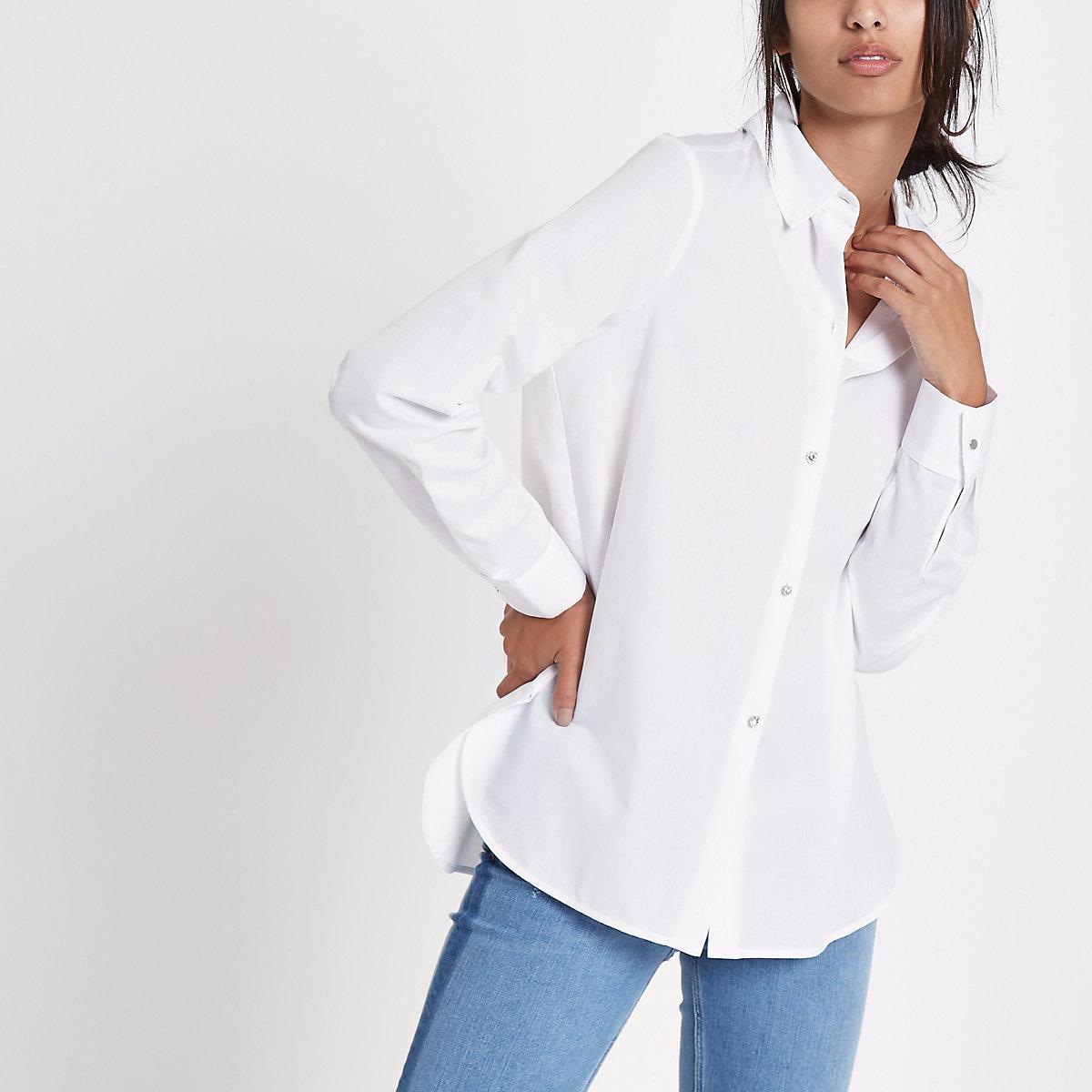 White rhinestone embellished button shirt