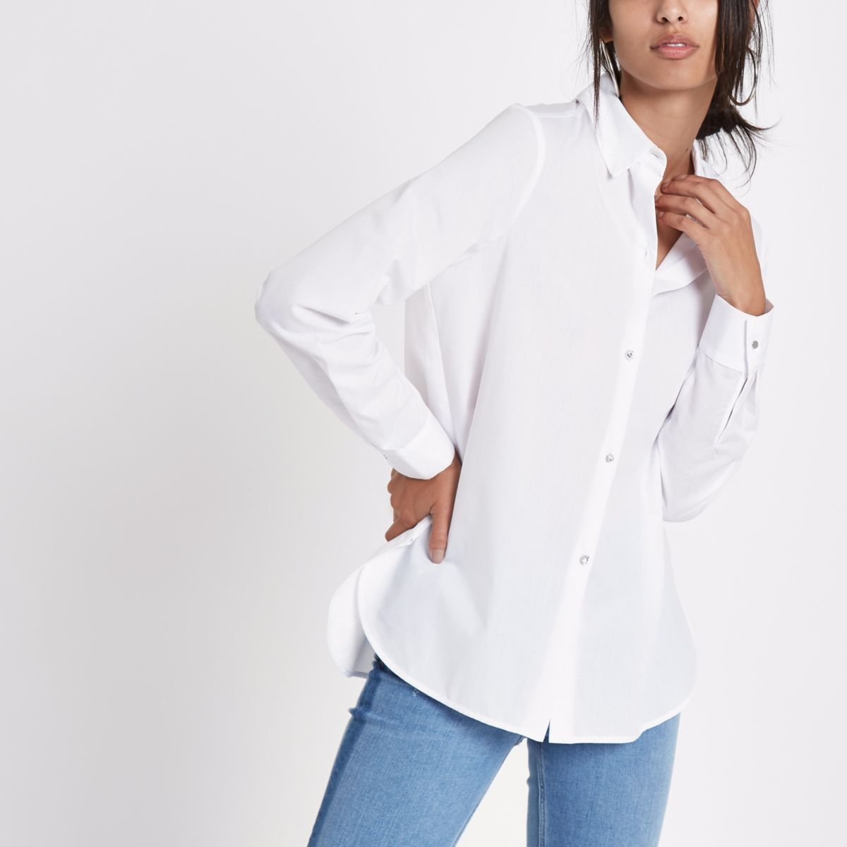 White rhinestone embellished button shirt