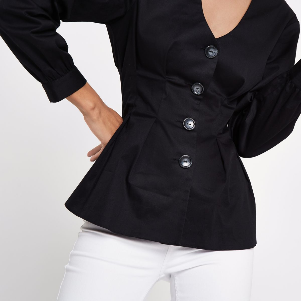 Black V neck button front blouse