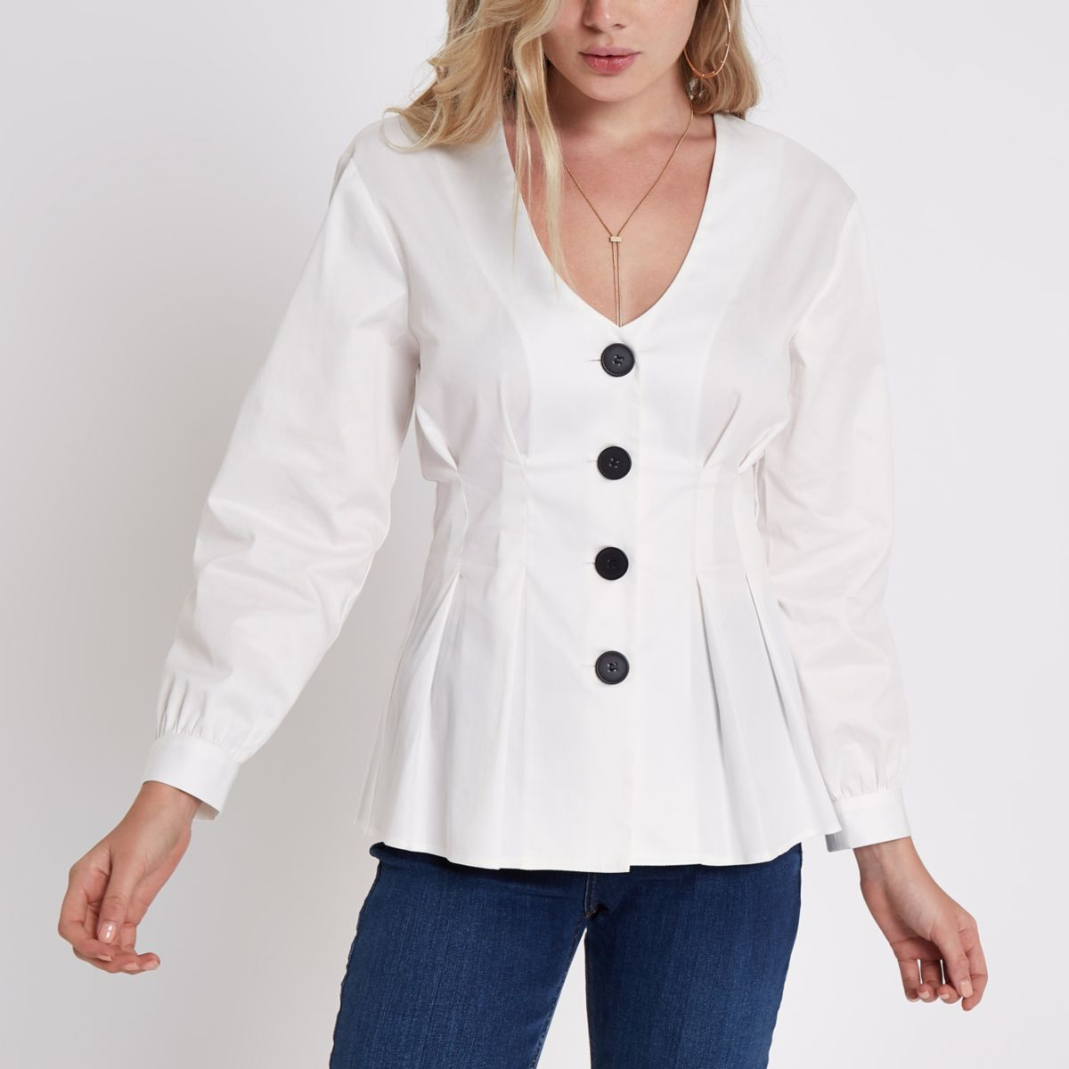 White V neck button front blouse
