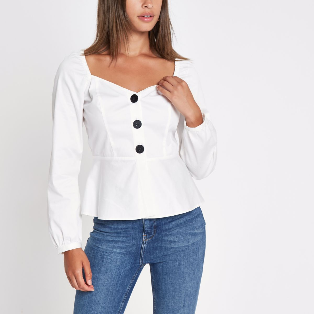 White fitted horn button top
