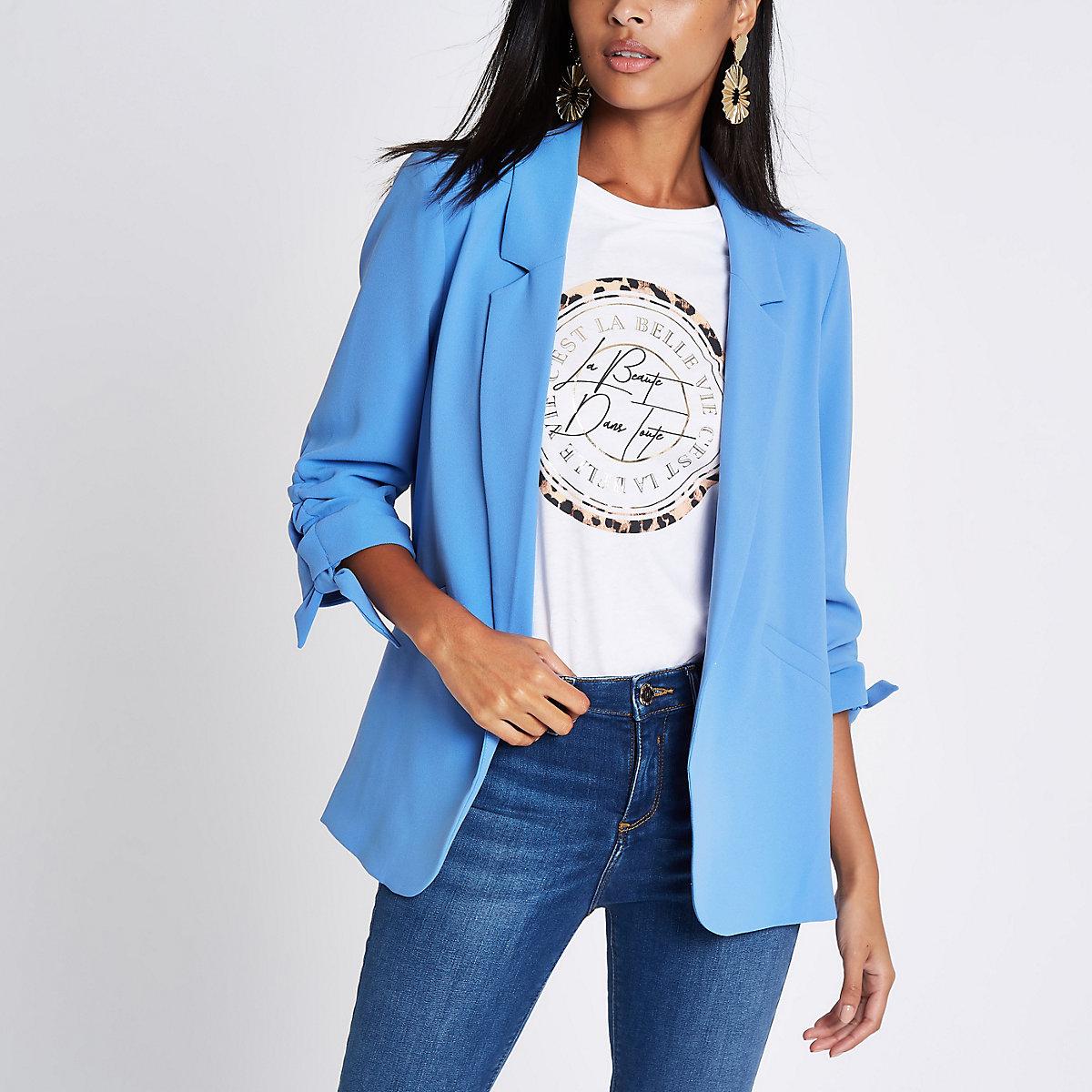 Blue ruched sleeve blazer