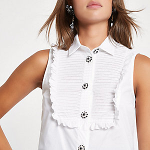White diamante embellished button front shirt