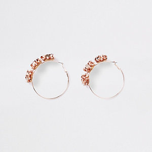 Rose gold floral sequin hoop earrings