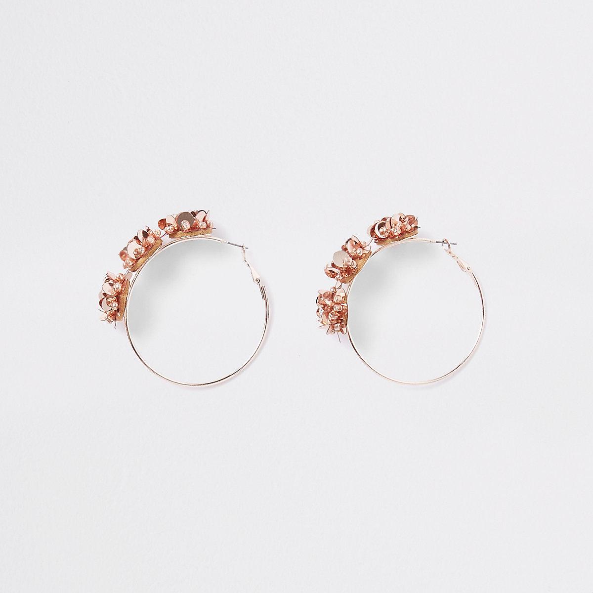 Rose gold floral sequin hoop earrings