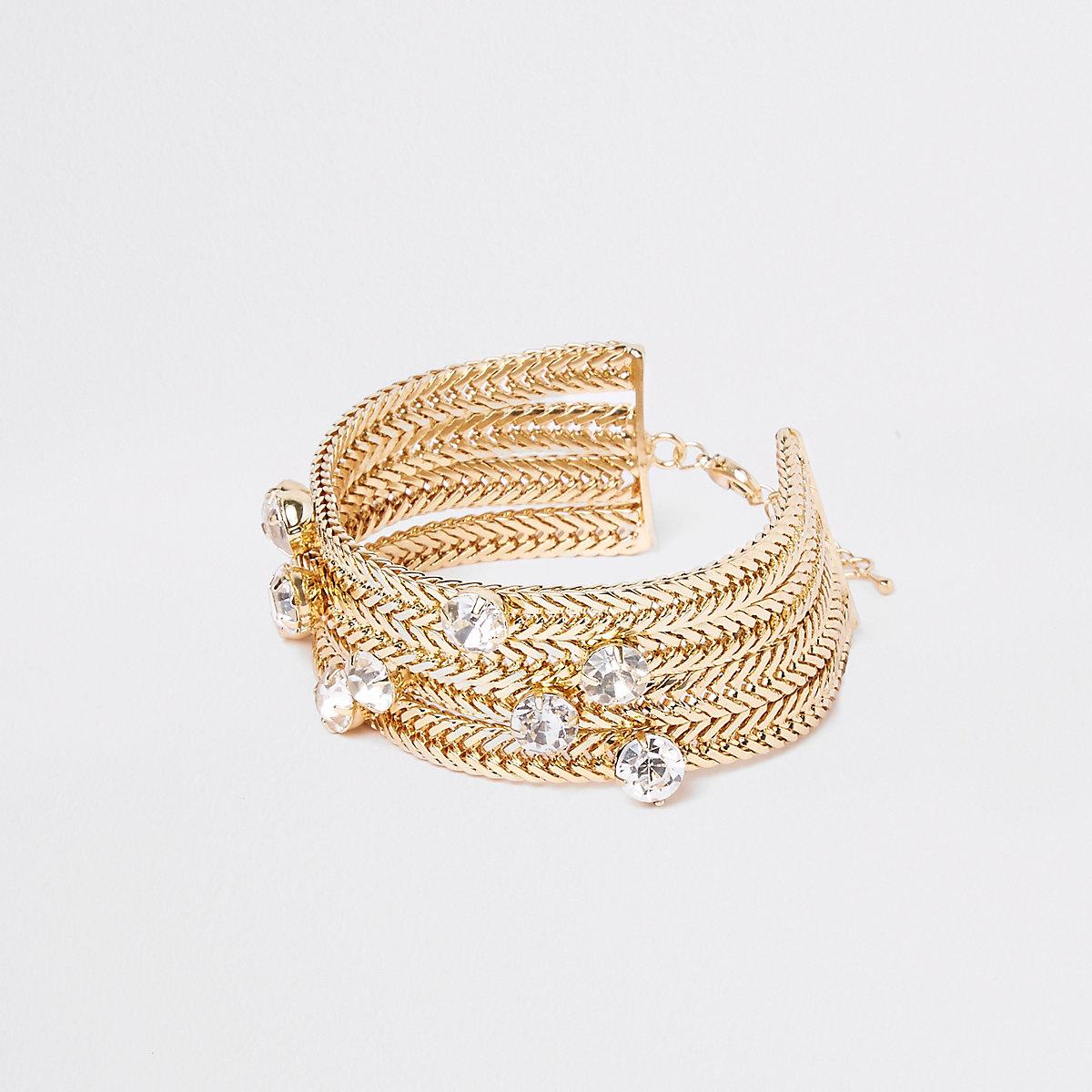 Gold tone jewel stone chain bracelet