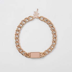 Gold tone chunky chain bar necklace