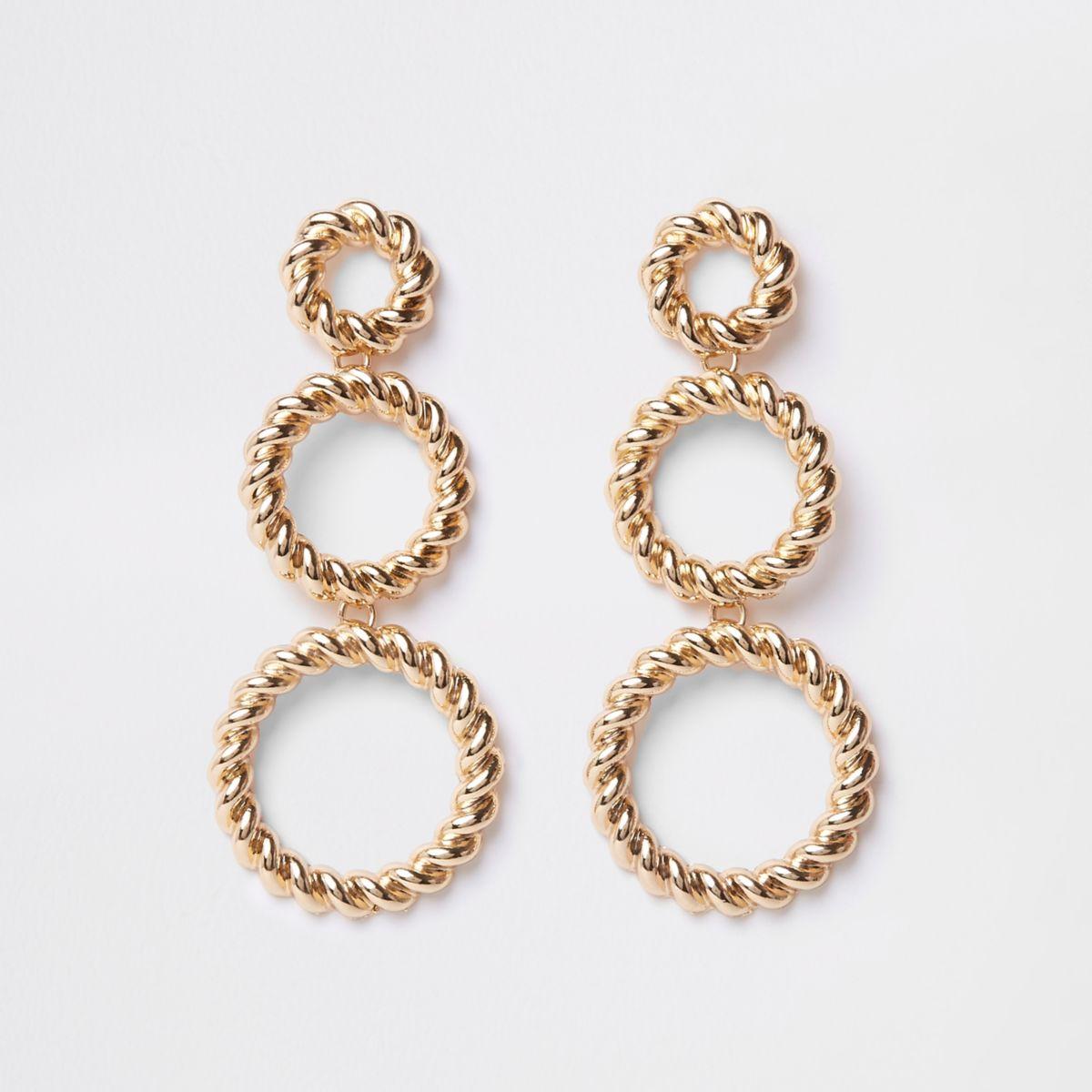 Gold tone triple twist hoop earrings
