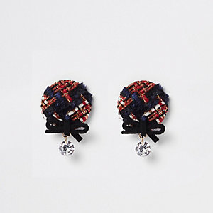 Red check bow and rhinestone stud earrings