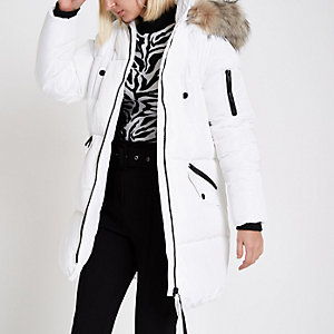 White faux fur trim longline puffer jacket