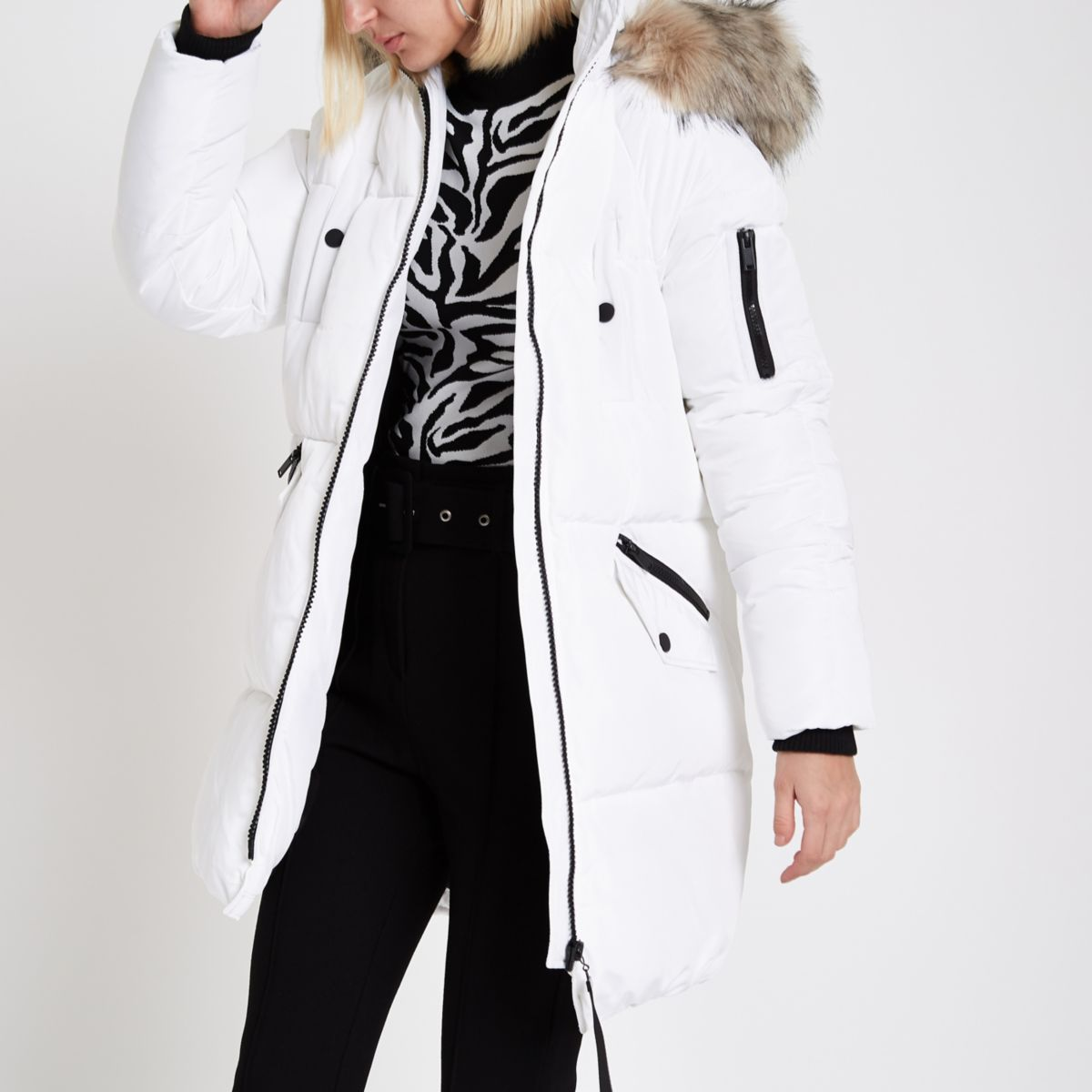 White faux fur trim longline puffer jacket
