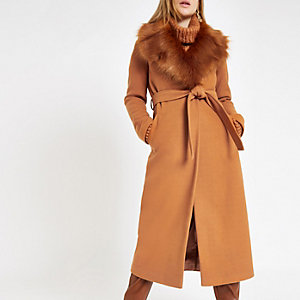 Brown belted faux fur robe coat