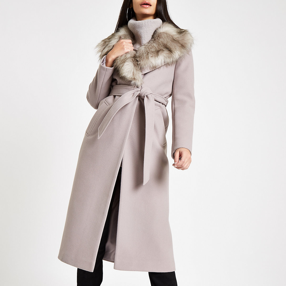 Grey belted faux fur robe coat