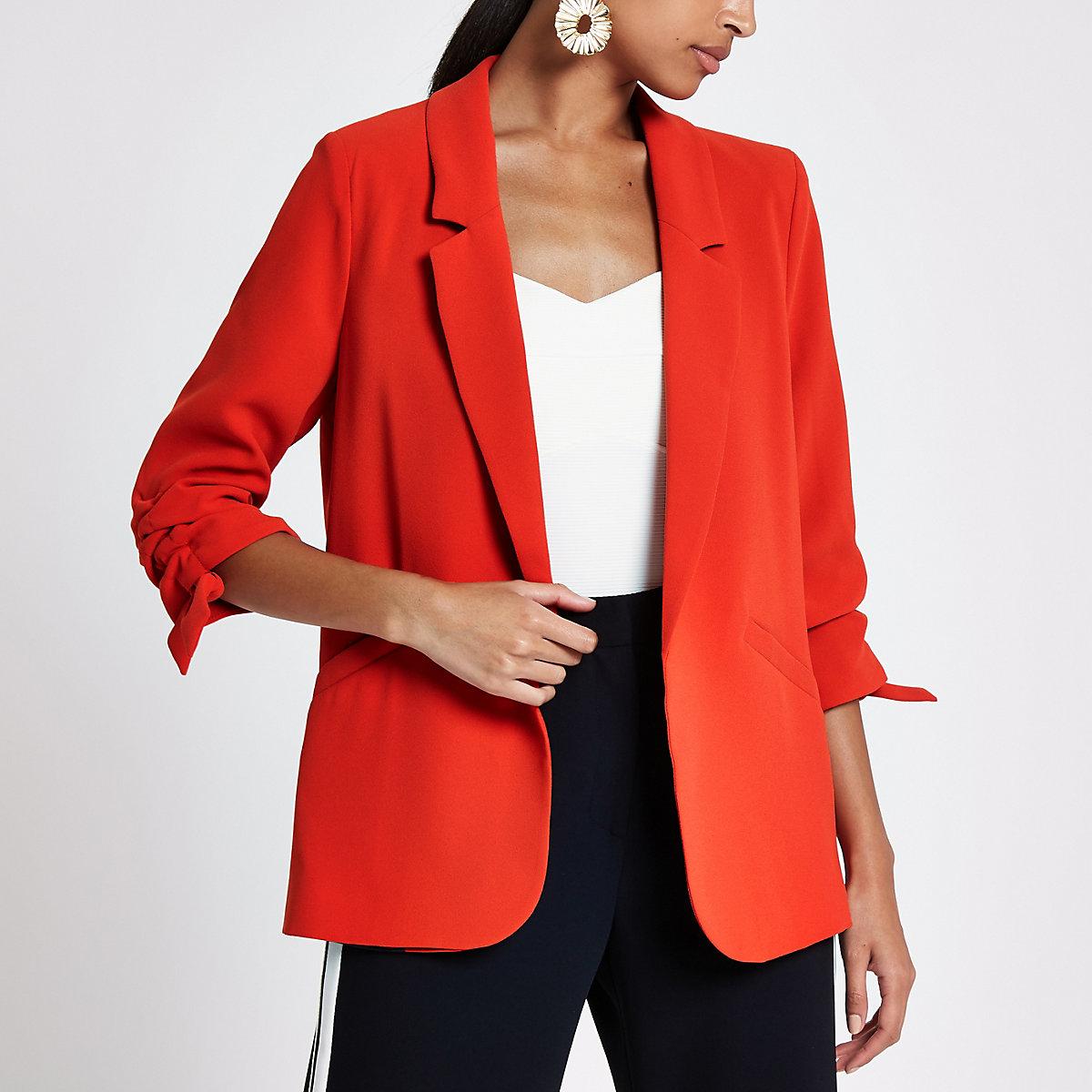 Bright red ruched sleeve blazer