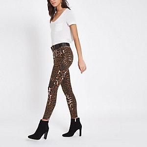 Amelie – Braune Skinny Jeans mit Leopardenprint
