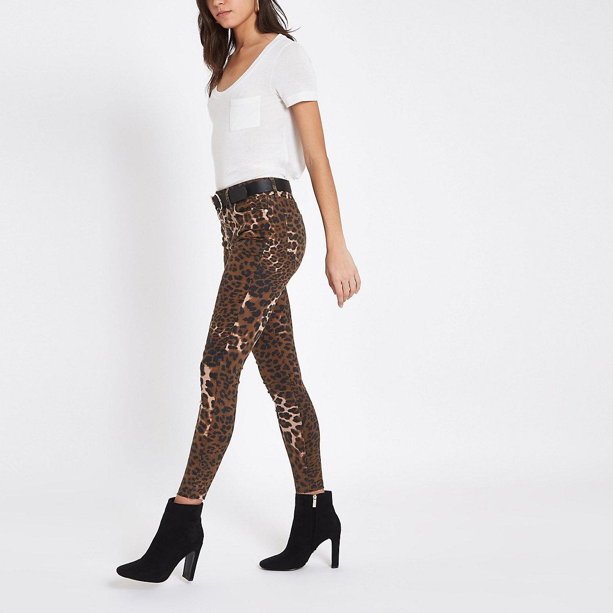 Brown leopard print denim Amelie skinny jeans