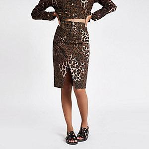 Brown leopard print split hem pencil skirt